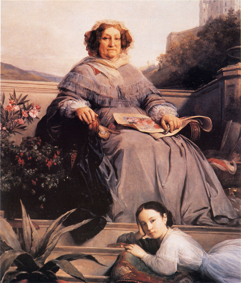 Portrait of Madame Clicquot and her great-granddaughter Anne de Rochechouart-Mortemart by Léon Cogniet.