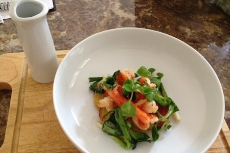 Food Travelist Tamarin Blackmur Prawns with Green Curry Sauce