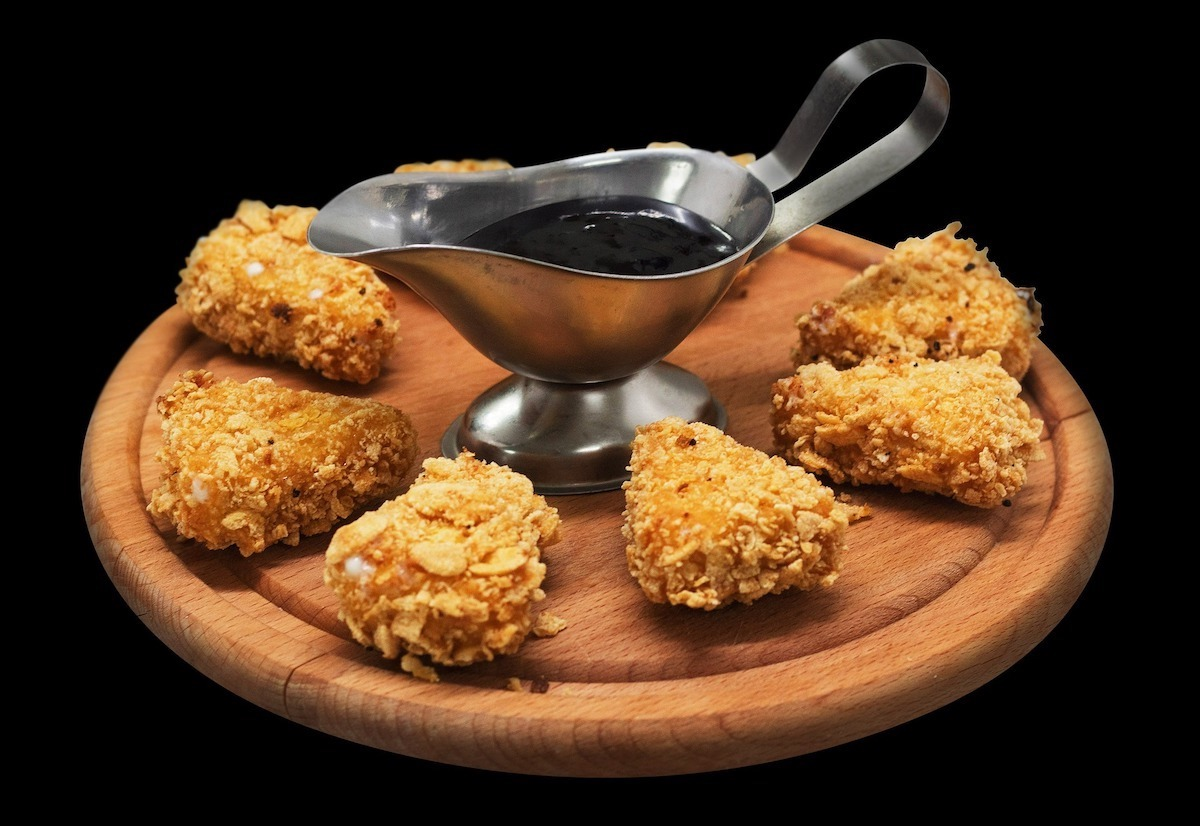 Smash Corn Flakes for Rustic Oven Fried Chicken Nuggets