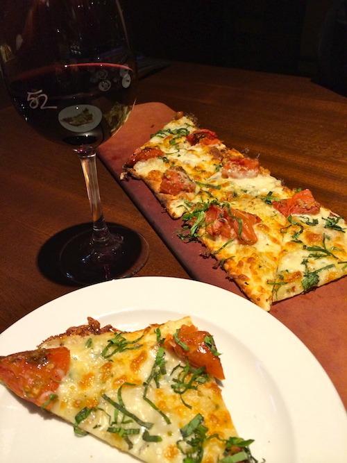 Roasted Roma Tomato Flatbread and Wine at Seasons52