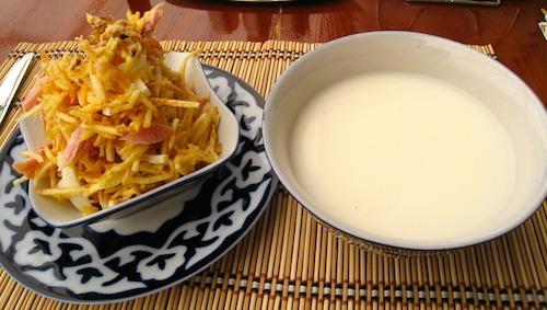 Horse Milk & Potato Ham and Cheese Dish