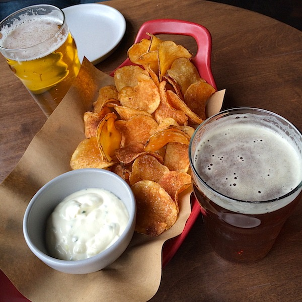 Homemade Potato Chips and Onion Dip