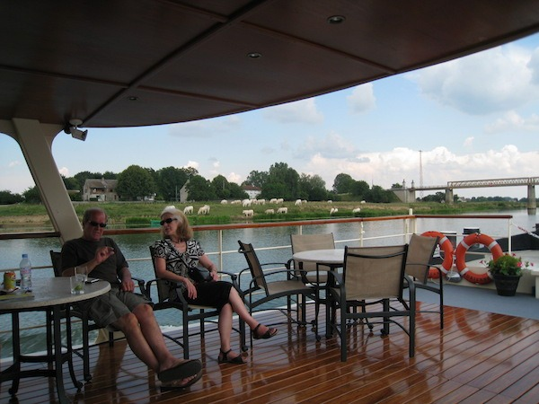 Relaxing on the Adrienne France Barge Cruise
