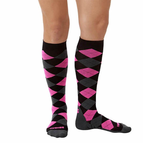 Zensah Black Grey Neon Pink Argyle Compression Socks