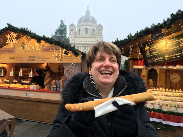 Fun eatiing at a Christmas Market in Vienna