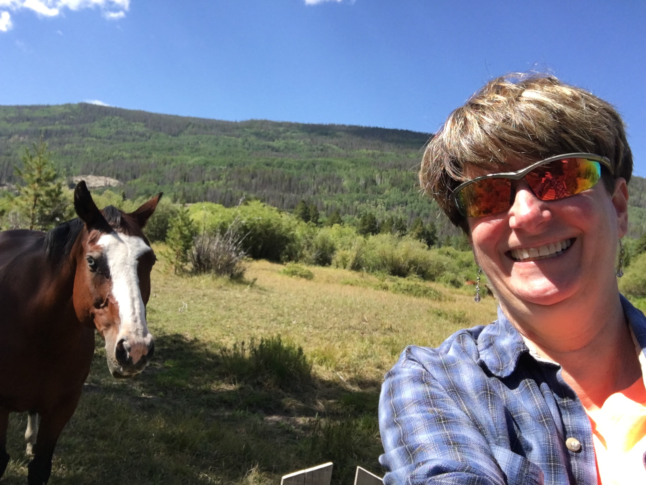 Sue Reddel and Trigger at Rawah Ranch