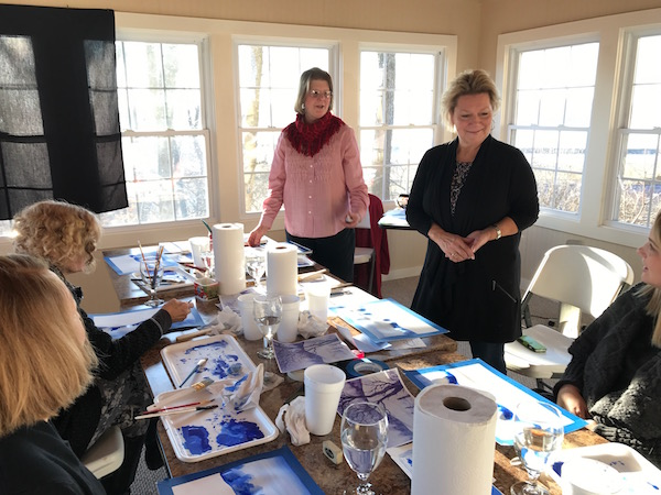 Carol Luc leading the watercolor class at the Goldmoor Inn.