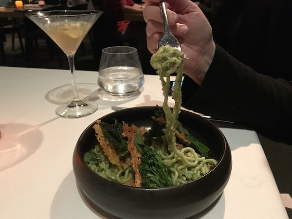 Stinging Nettle Spaghetti at George's on the Cove in La Jolla