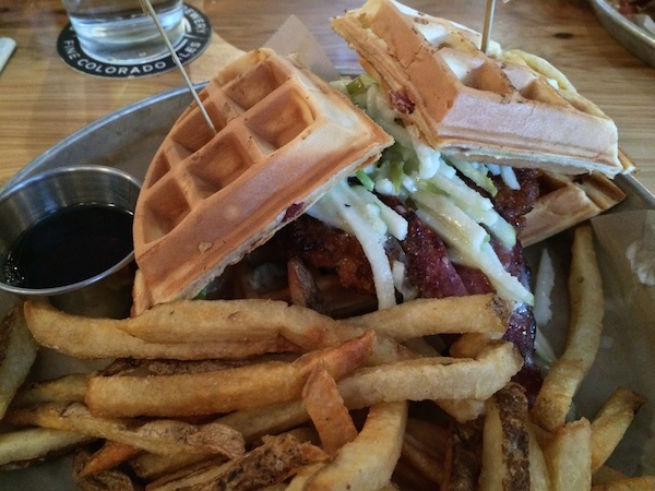 Chicken Burger & Waffles with Duck BACON