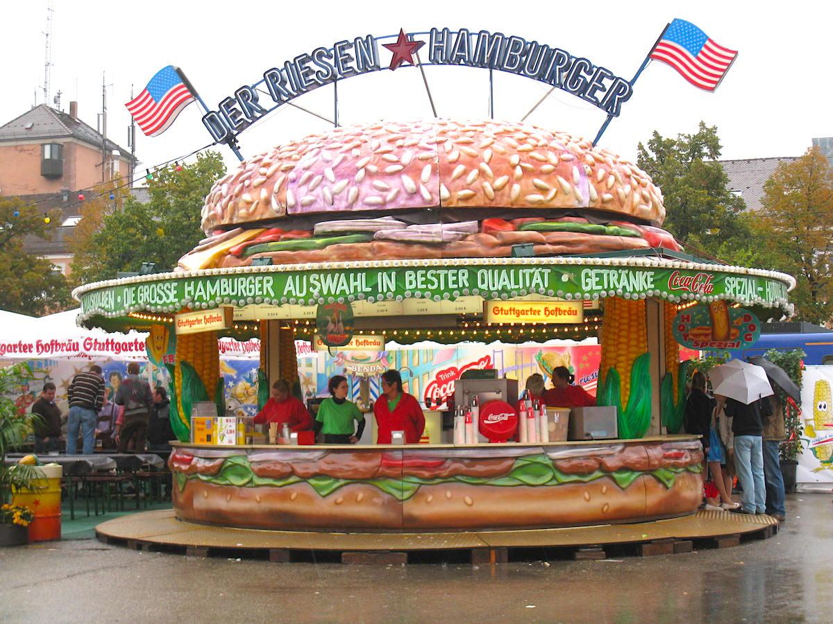 Hamburger Stand at Volksfest Stuttgart Germany