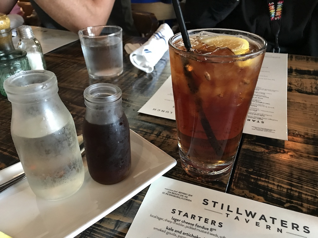 Ice Tea with simple syrup at Stillwaters Tavern St. Petersburg Florida