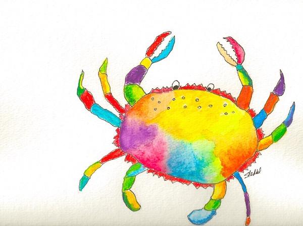 Rainbow Crab Painting