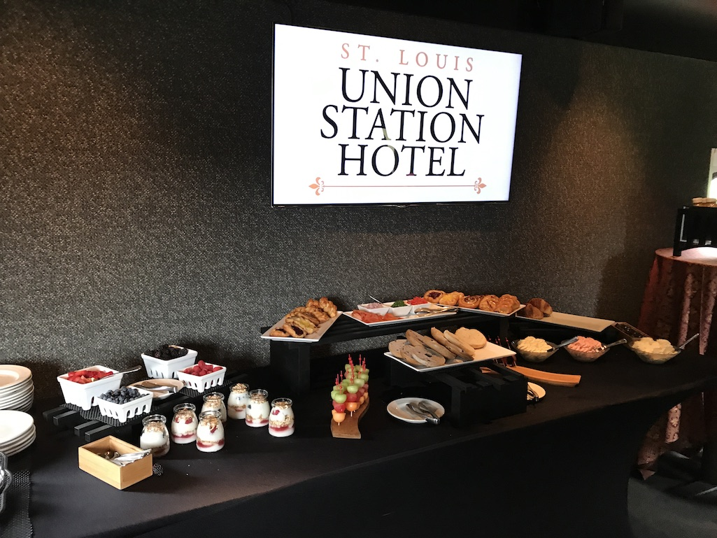 Breakfast buffet on the Union Station Hotel Train