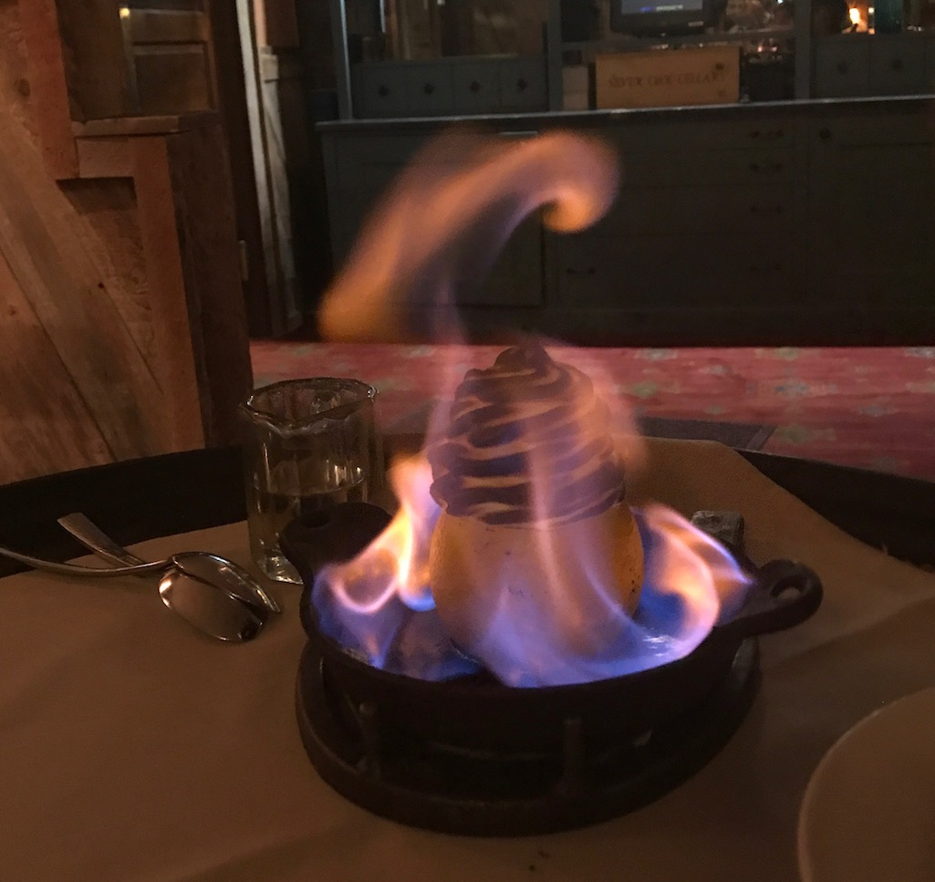 Flaming dessert at Chico Hot Springs