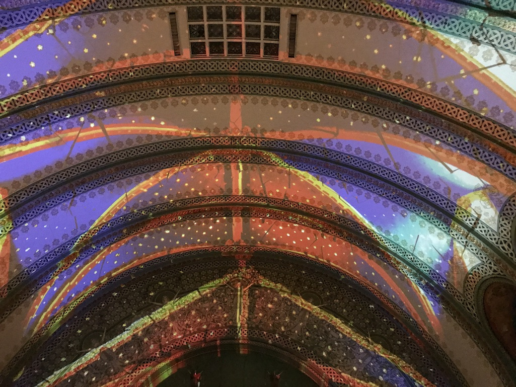 Light show at the Union Station Hotel in St. Louis