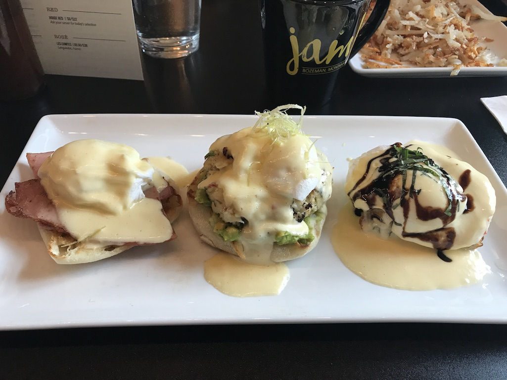 Trio of Benedicts at Jam! Bozeman Montana Yellowstone Country