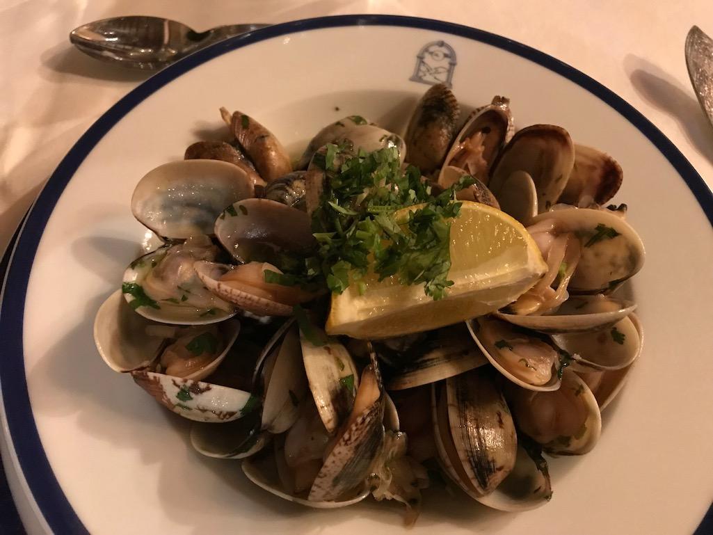Appetizer Clams at Pousado do Castelo Obidos Portugal