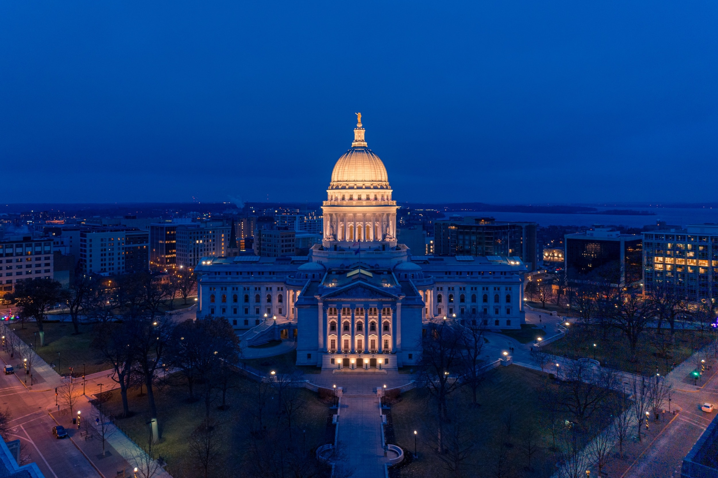 Madison Capitol Building At Night
