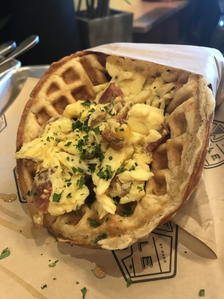 Waffle Champion egg, bacon and cheese sandwich