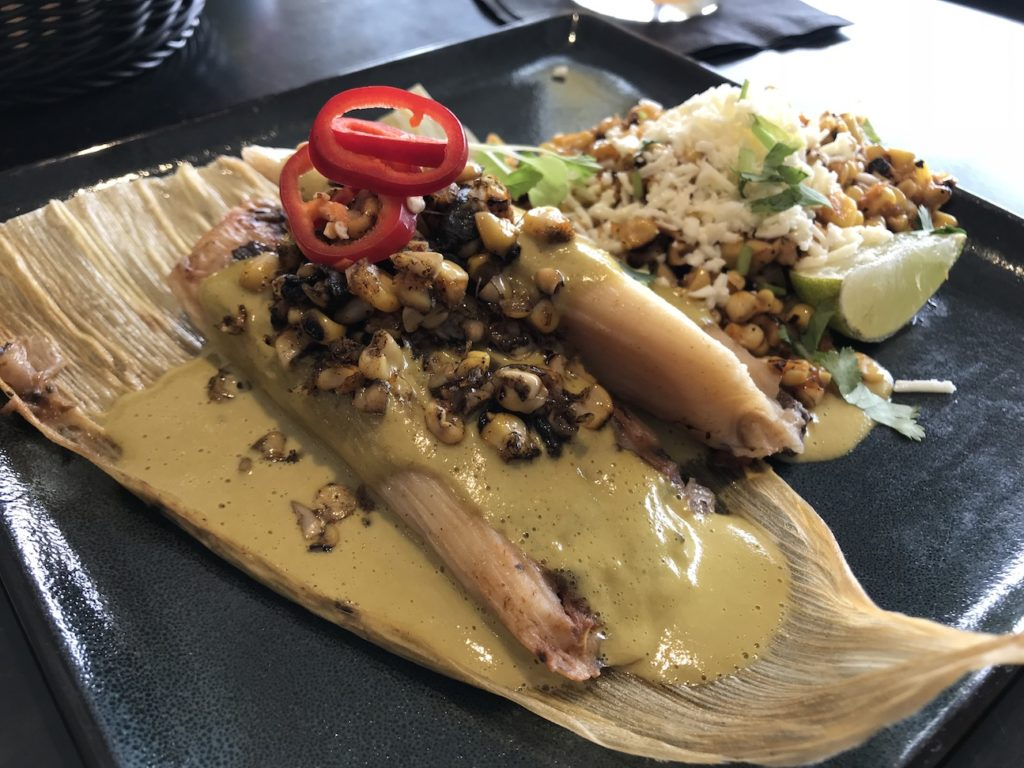 Wild Mushroom Tamale with huitlacoche and poblano cream at Barrios Fine Mexican Dishes OKC