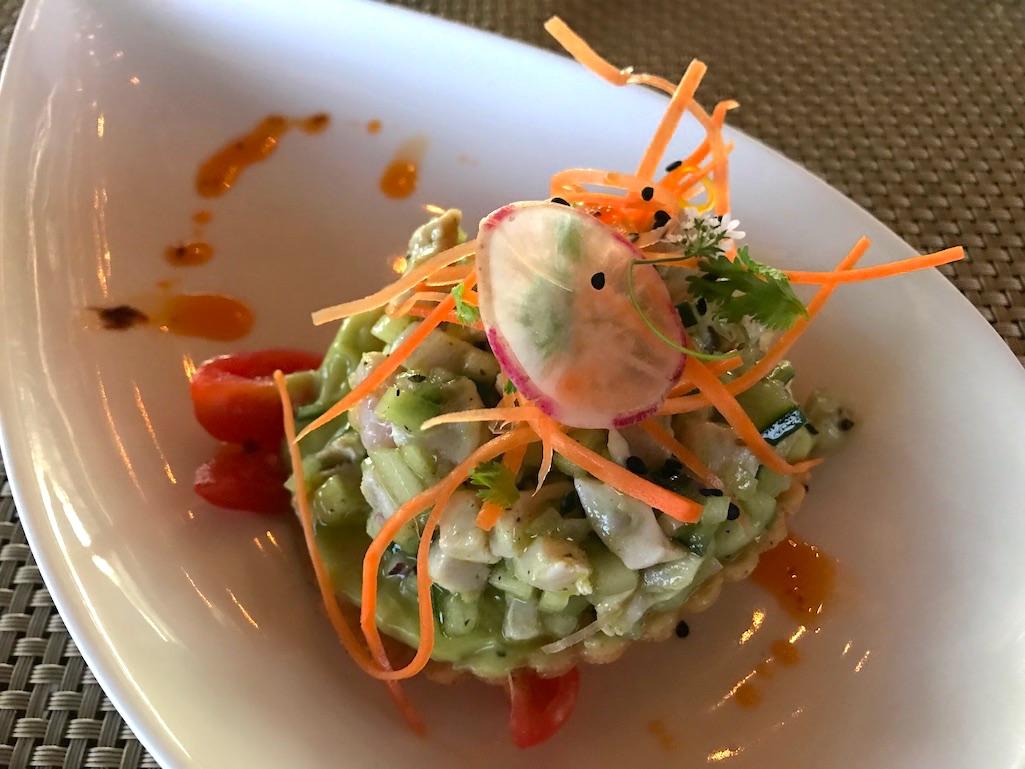 Fish ceviche tostada in green salsa el mirador restaurant los cabos