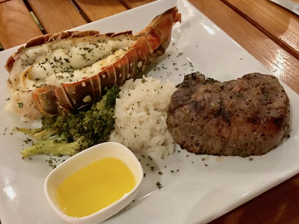 Steak and Lobster at the Beach Side Cafe St. Croix