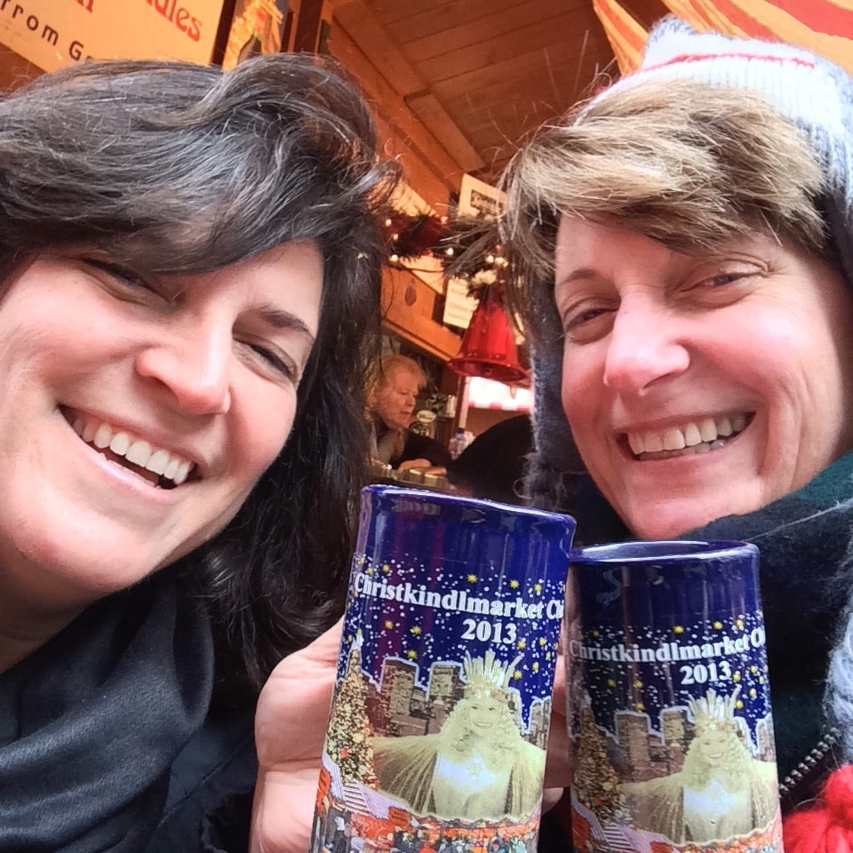 Sue and Diana drinking Gluhwein