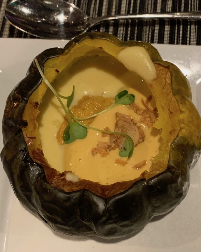 Acorn squash soup with uni foam fried shallots and truffle oil Taste Kitchen Ann Arbor