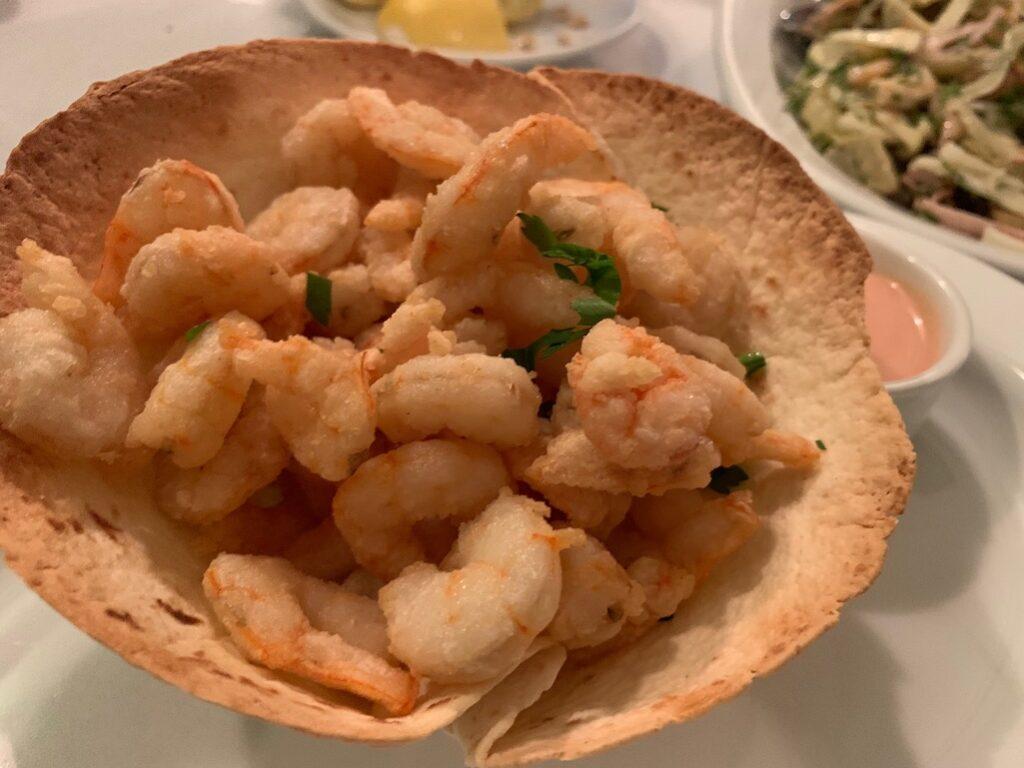 Fresh shrimp in Athens Greek