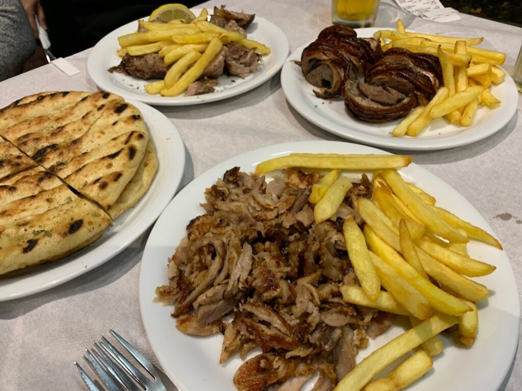 Greek local food bar-b-que Athens