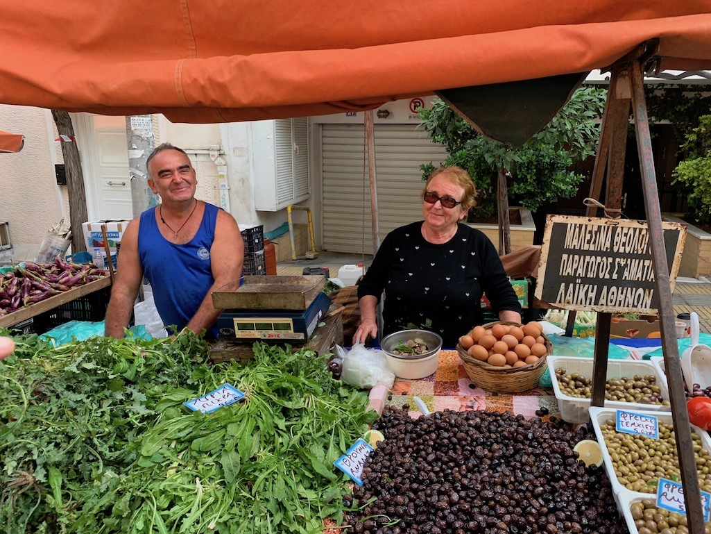 Local farmers at the Athens Greece Farmers Market