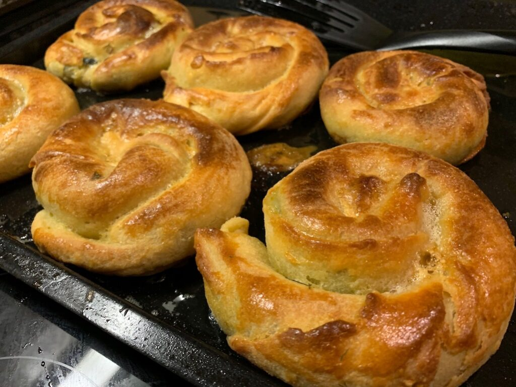 Spinach and feta pies in Athens Greece