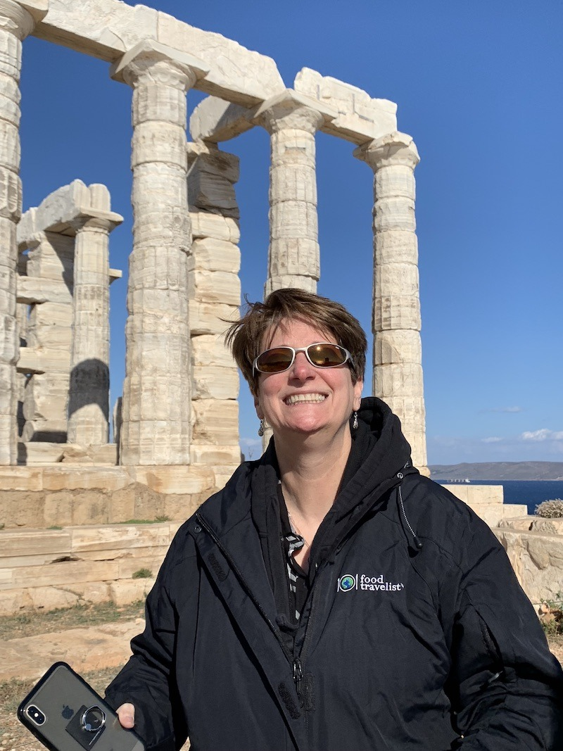 Sue smiling in Greece
