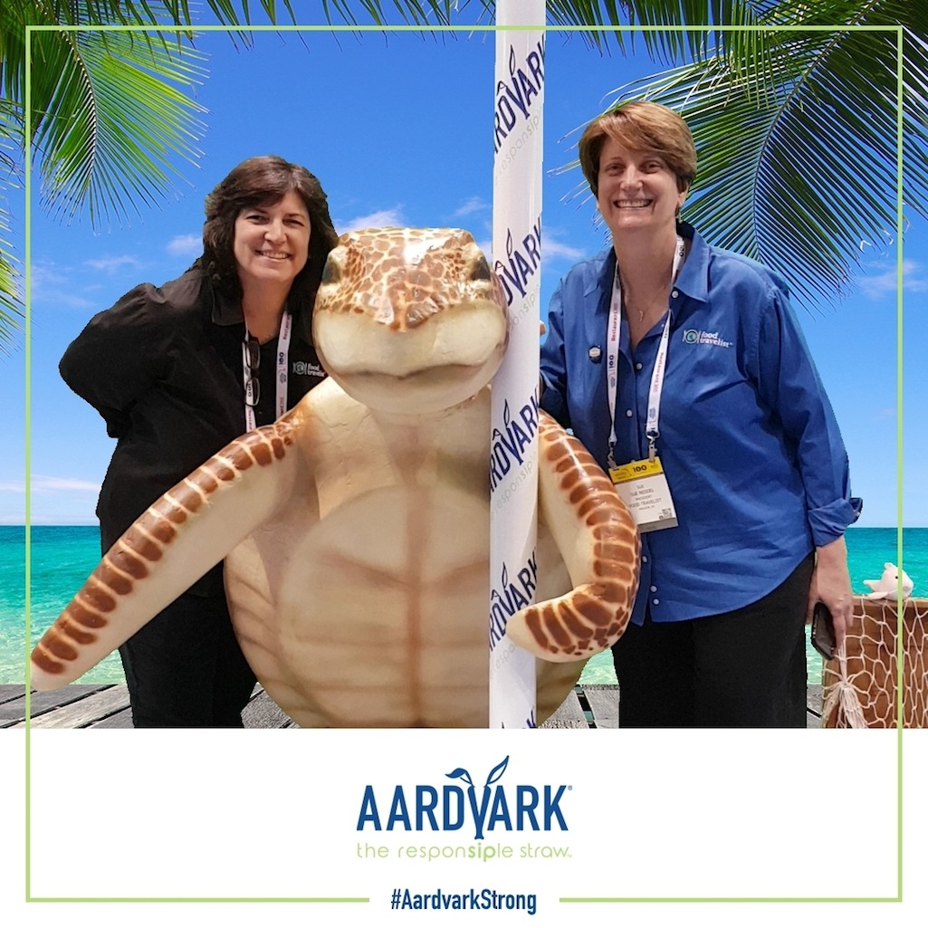 Sue and Diana with Arrdie from Aardvark Straws