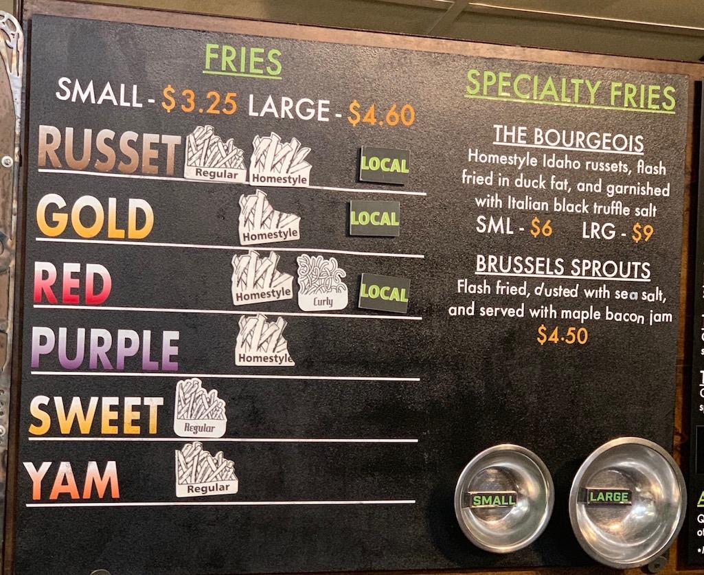 Boise Fry Company fry selection