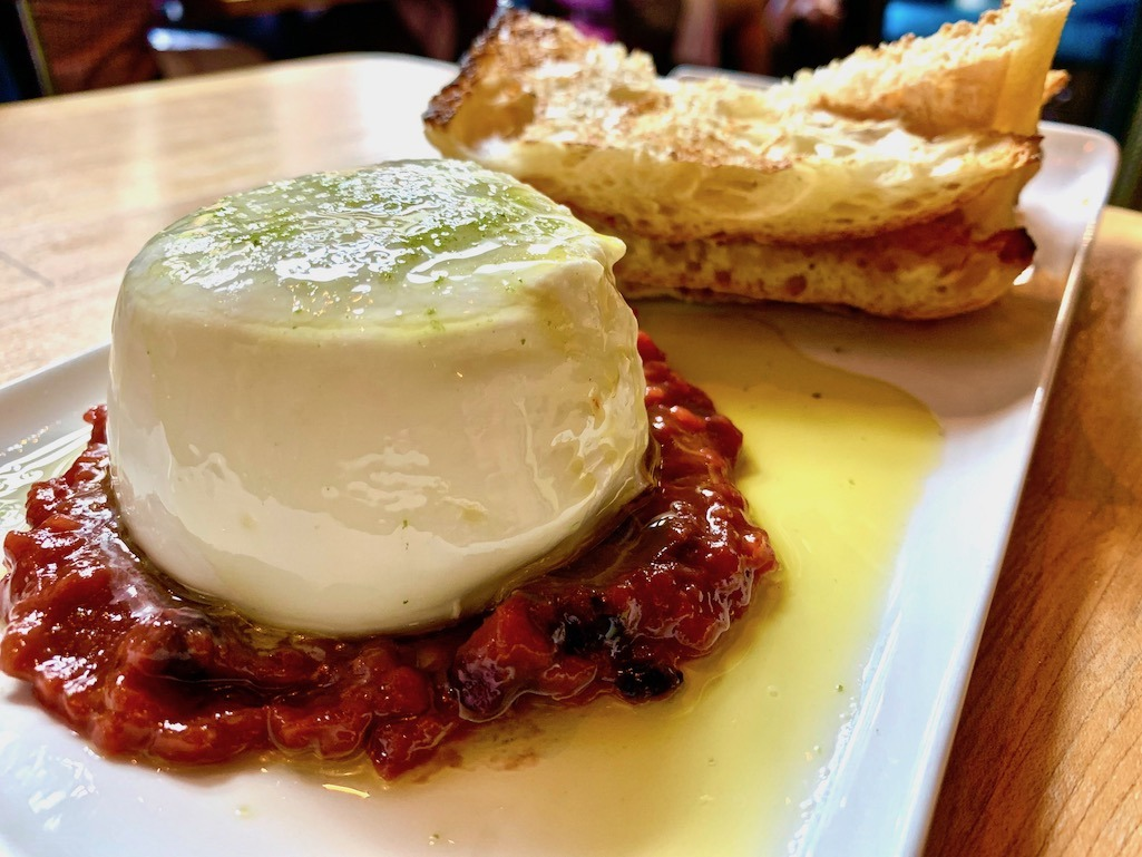 Burrata at Alavita Restaurant Boise Idaho