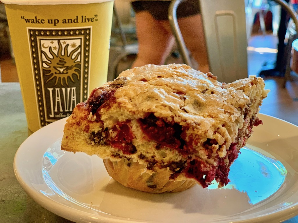 Raspberry Chocolate Chip muffin at Java Coffee and Cafe Boise Idaho