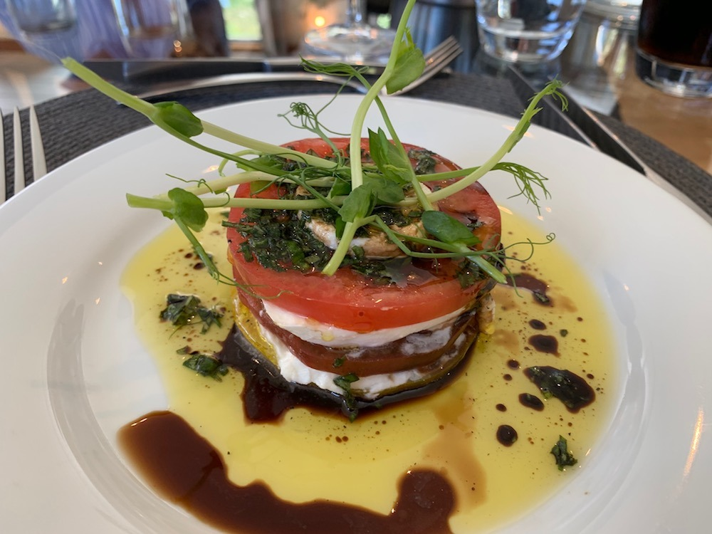 Tomato and mozzarella stacks on Enchante European Waterways