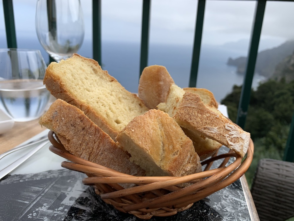 Delicious house made potato bread with a view at Quita do Furao Madeira Portugal