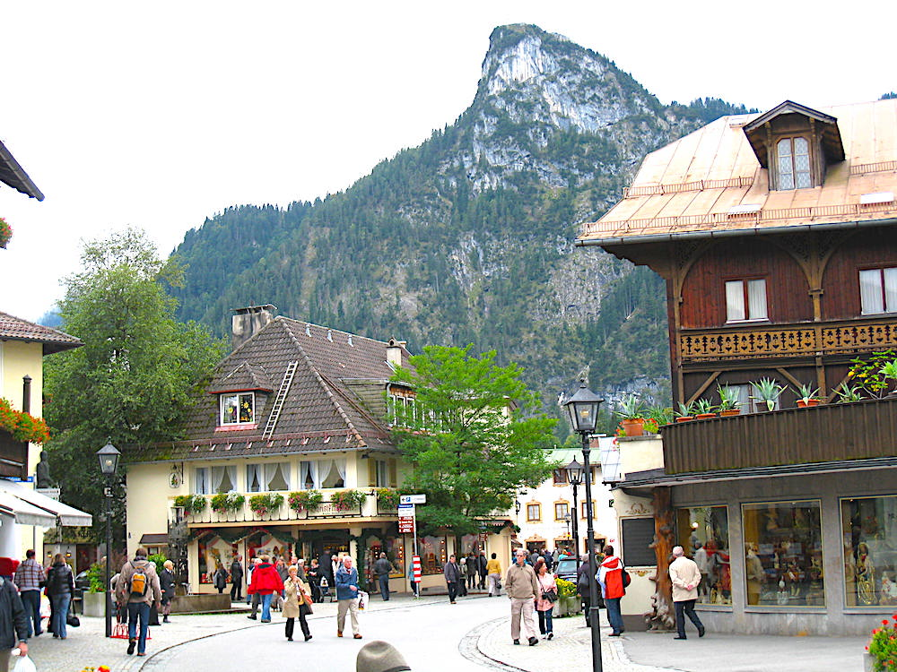 Oberammergau with mountains in background