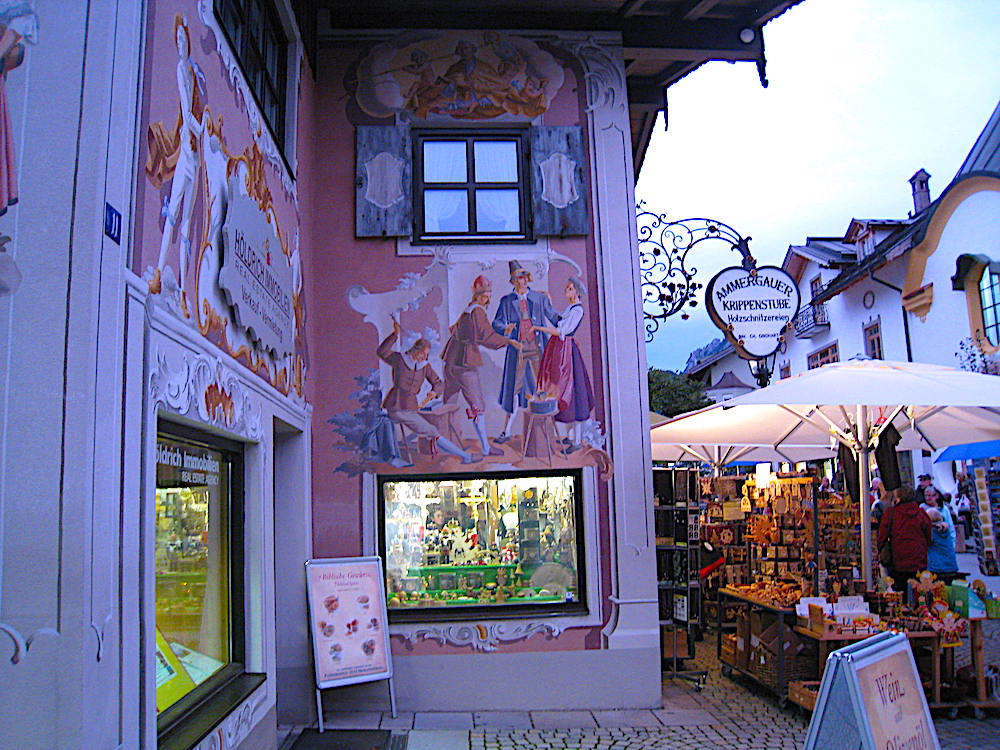 Painted Houses and Vendors in the Streets Oberaummergau