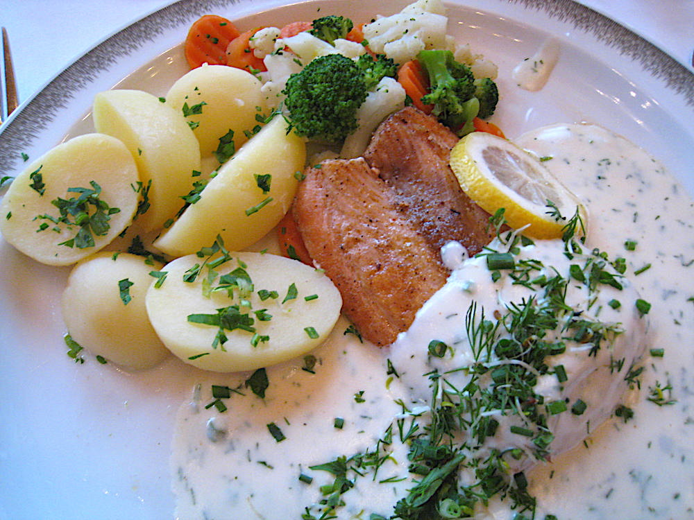 Salmon dinner at Oberammergau