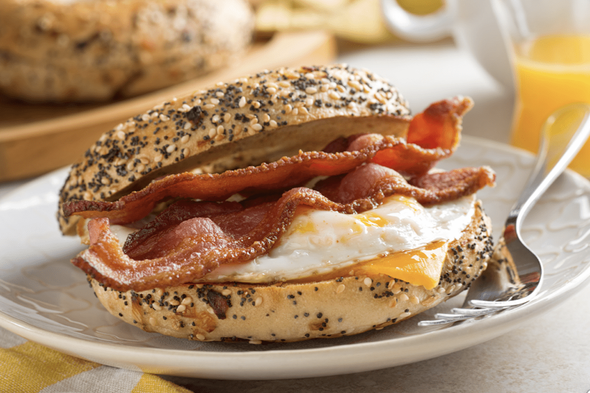 Egg Bacon Cheese On A Bagel