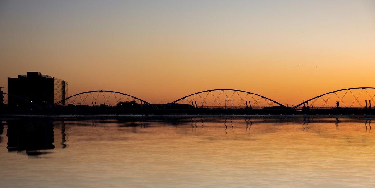 Tempe Town Lake Bridge at sunset