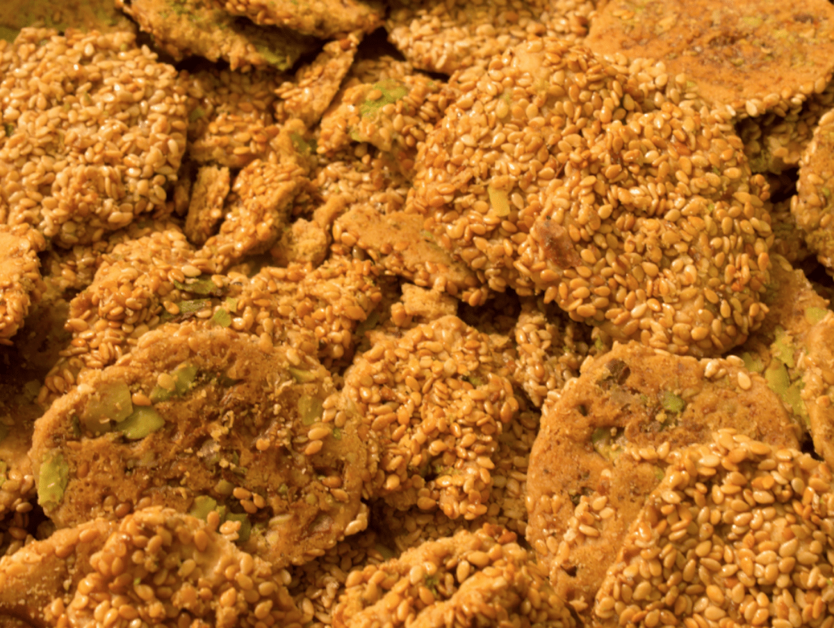 Greek Pasteli Sesame candy with pistachios