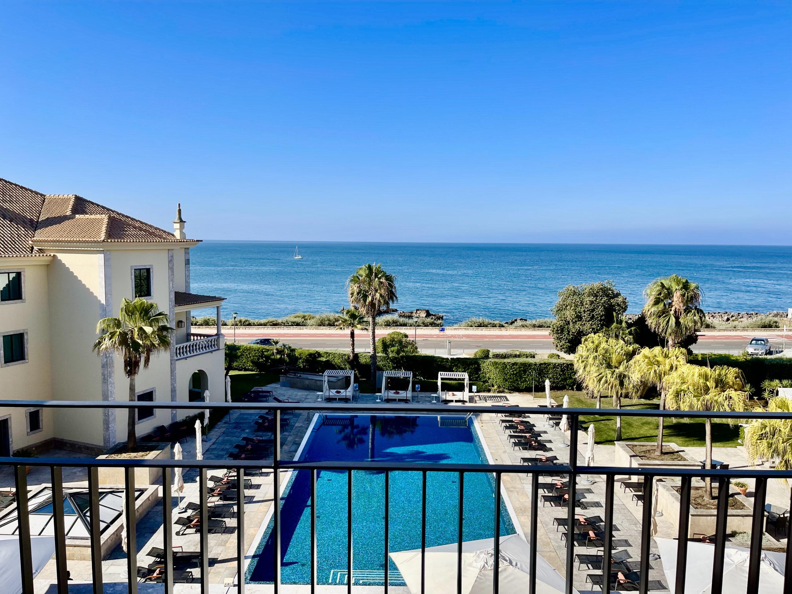 Pool view at the Grande Real Villa Italia Hotel and Spa Cascais
